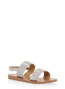Double Strap Rhinestone Sandals - 1110070404369