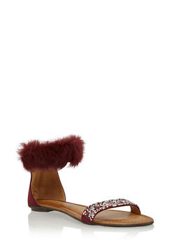 Faux Fur Ankle Strap Sandal with Rhinestone Accent - 1110070405463