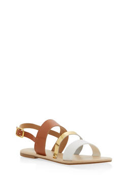 Triple Strap Slingback Sandals - TAN - 1110073542102