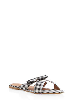 Gingham Print Bow Slide Sandals - BLACK - 1110073542104