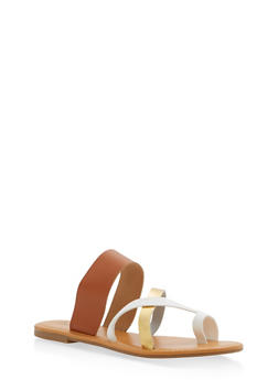 Toe Ring Slide Sandals - TAN - 1110073542105