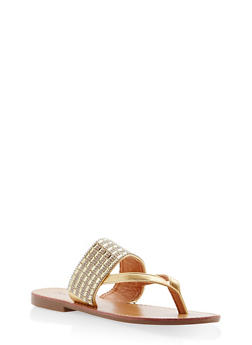 Thick Rhinestone Strap Thong Sandals - GOLD - 1110073542109