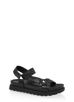 Velcro Strap Footbed Sandals - BLACK - 1110074707752
