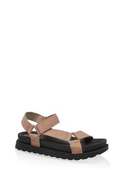 Velcro Strap Footbed Sandals - BLUSH - 1110074707752