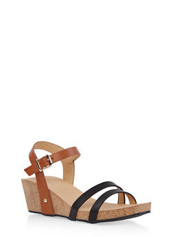 Cork Wedge Ankle Strap Sandals - 1110074817867