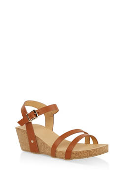 Cork Wedge Ankle Strap Sandals - TAN - 1110074817867