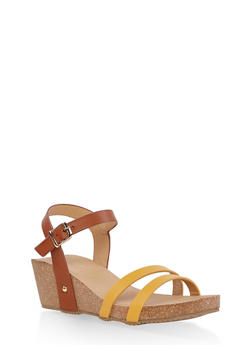 Cork Wedge Ankle Strap Sandals - MUSTARD - 1110074817867