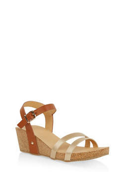 Cork Wedge Ankle Strap Sandals - GOLD - 1110074817867