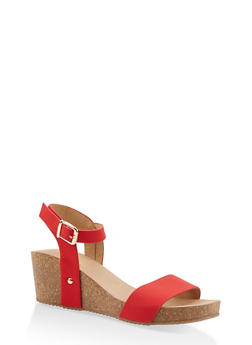Ankle Strap Wedge Sandals - RED - 1110074817868
