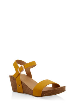 Ankle Strap Wedge Sandals - MUSTARD - 1110074817868