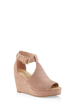Perforated T Strap Wedge Sandals - 1110074967576