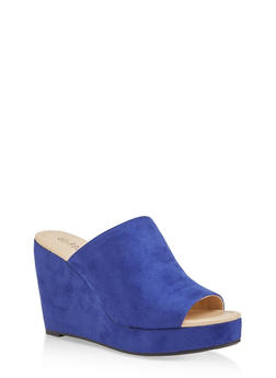 Faux Suede Wedge Sandals - 1110074967577