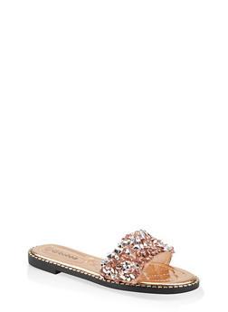 Metallic Detail Slide Sandals - 1110075822229