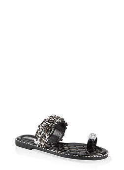Toe Loop Rhinestone Slide Sandals - 1110075822230