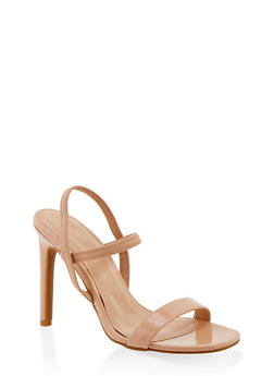 Slingback High Heel Sandals - NUDE PATENT - 1111004062367