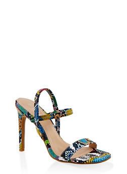 Slingback High Heel Sandals - MULTI SKIN - 1111004062367