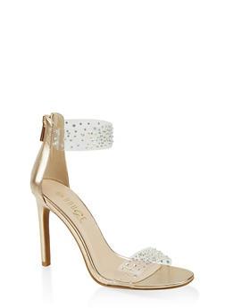 Rhinestone Strap High Heel Sandals - GOLD - 1111004062376
