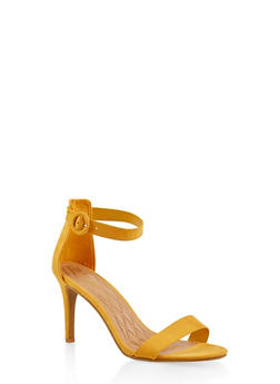 89587529774 Buckle Ankle Strap High Heel Sandals - YELLOW - 1111004062529
