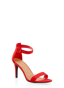 Ankle Strap High Heel Sandals - RED S - 1111004062529