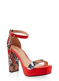Single Strap Platform High Heel Sandals - RED SKIN PRINT - 1111004062672