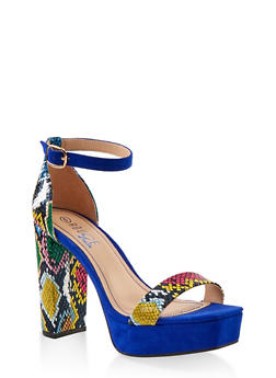Single Strap Platform High Heel Sandals - MULTI SKIN - 1111004062672