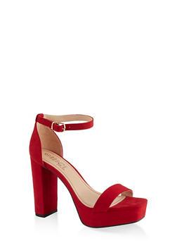 Ankle Strap Platform High Heel Sandals - RED S - 1111004062674