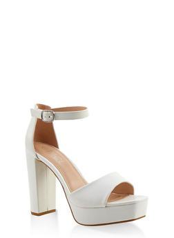 Platform High Heel Sandals - WHITE - 1111004062675