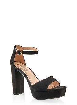Platform High Heel Sandals - BLACK SUEDE - 1111004062675