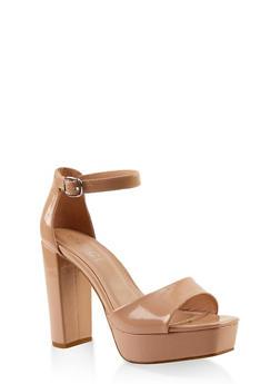 Platform High Heel Sandals - NUDE PATENT - 1111004062675