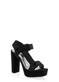 Velcro High Heel Platform Sandals - BLACK SUEDE - 1111004062678