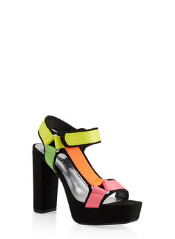 Velcro High Heel Platform Sandals - 1111004062678