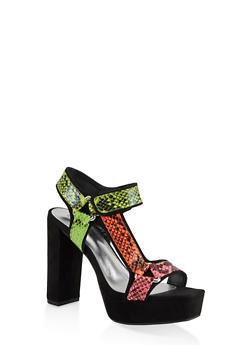 Velcro High Heel Platform Sandals - MULTI COLOR - 1111004062678