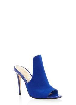 Cut Out High Heel Mules - BLUE - 1111004063274