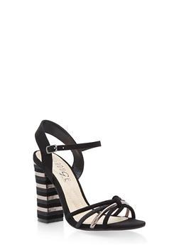 Strappy High Heel Sandals - BLACK MULTI - 1111004063628