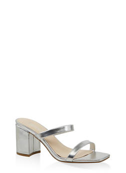 Double Band Block Heel Sandals - 1111004063673