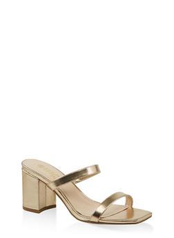 Double Band Block Heel Sandals - GOLD - 1111004063673
