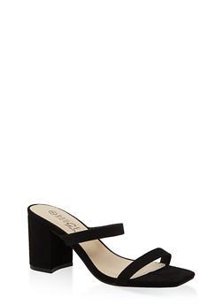 Double Band Block Heel Sandals - BLACK SUEDE - 1111004063673