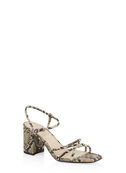 Strappy Mid Block Heel Sandals - NATURAL SKIN PRINT - 1111004063674