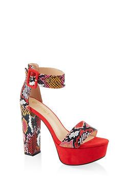 Buckle Ankle Strap Platform Sandals - RED SKIN PRINT - 1111004063726