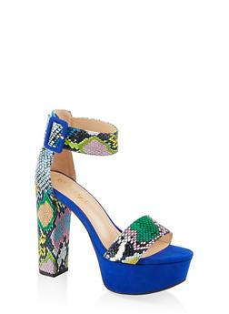 Buckle Ankle Strap Platform Sandals - MULTI SKIN - 1111004063726