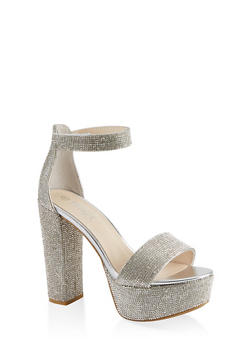Rhinestone High Heel Platform Sandals - 1111004063728