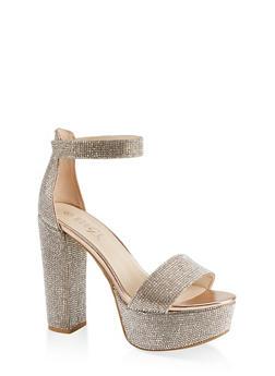 Rhinestone High Heel Platform Sandals - ROSE - 1111004063728