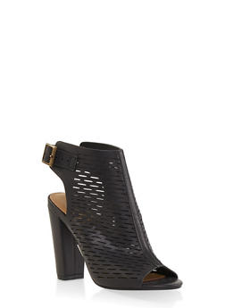 Laser Cut Peep Toe High Heel Booties - BLACK - 1111004063737