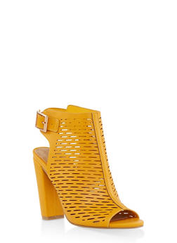 Laser Cut Peep Toe High Heel Booties - YELLOW - 1111004063737