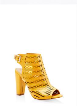 Laser Cut Peep Toe High Heel Booties - YELLOW S - 1111004063737