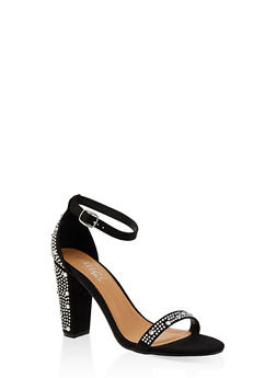 Rhinestone Studded Block Heel Sandals - BLACK SUEDE - 1111004063751