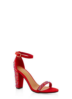 Rhinestone Studded Block Heel Sandals - RED S - 1111004063751