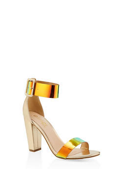 Iridescent Ankle Strap High Heel Sandals - GREEN - 1111004063752