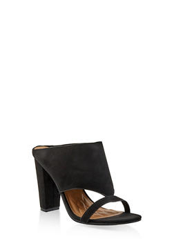 Cut Out Block Heel Mules - BLACK SUEDE - 1111004063753