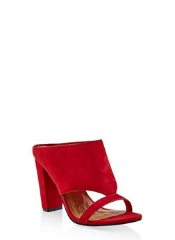 Cut Out Block Heel Mules - RED S - 1111004063753